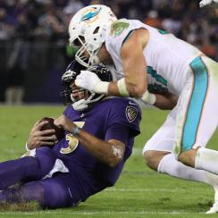Dolphins linebacker Kiko Alonso was penalized for unnecessary roughness but not kicked out of the game for this hit on Ravens quarterback Joe Flacco.