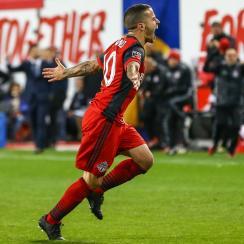 Sebastian Giovinco scores for Toronto FC vs. the New York Red Bulls in the MLS playoffs