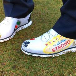Charley Hoffman's custom Las Vegas-themed FootJoy golf shoes.