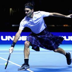 Roger Federer wore a kilt during an exhibition match vs. Andy Murray in Scotland.