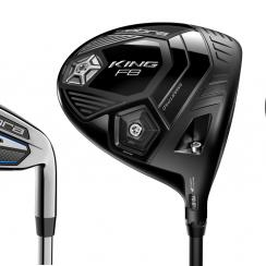 A selection fo the new Cobra F8 family of golf clubs.