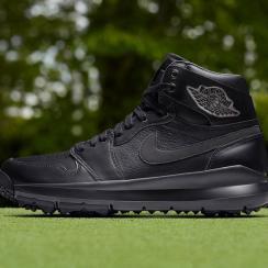 The new all-black Nike Air Jordan 1 Golf Premium golf shoes.