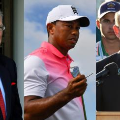 From left to right: Acushnet CEO Wally Uihlein, Tiger Woods, and USGA Executive Director Mike Davis.