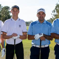 Angel Cabrera and his son, Angel Cabrera Jr. (right, in blue), lead the 2017 PNC Father-Son Challenge by one shot.