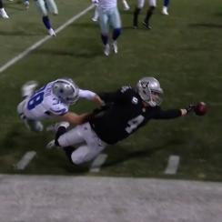 Derek Carr fumbled through the endzone for a touchback to seal the Raiders' loss to the Cowboys on Sunday night.
