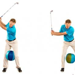As you drive your weight back toward the target, sit slightly into your glutes. Your front knee will naturally separate, and the ball will drop.