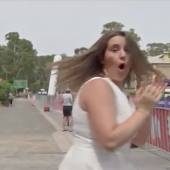 Truck crashes through finish line at Australia cycling race (video)