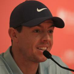 Rory McIlory pictured during a press conference during a practice round ahead of the 2018 Abu Dhabi HSBC Golf Championship.