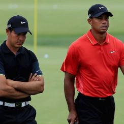 Chris Como and Woods at the 2015 Masters.
