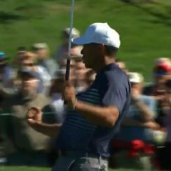 Tiger Woods celebrates his birdie at the 1st hole on Torrey Pines's North Course on Friday.