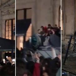 Eagles fans celebrate Super Bowl, destroy Ritz Carlton awning
