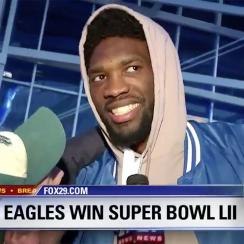 joel embiid celebrates eagles super bowl win
