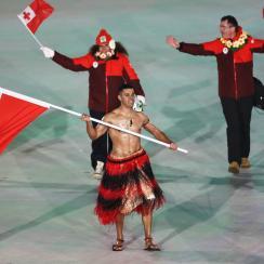 Tonga's shirtless flag bearer, Pita Taufatofua, is back in action in PyeongChang.