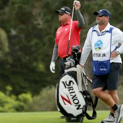 Ted Potter Jr. selects a club on the 11th hole during the final round of the AT&T Pebble Beach Pro-Am at Pebble Beach.
