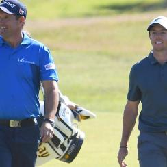 Harrington and McIlroy, shown here in a practice round before the 2017 British Open, actually don't spend much time together on the course or off.