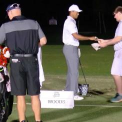 Woods spoke with Kevin Shanahan during his warmup before Wednesday's pro-am.