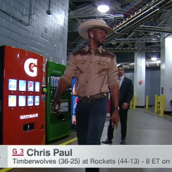 Chris Paul celebrated Go Texan Day with an awesome Cowboy outfit.