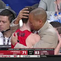 Fairfield basketball: Sydney Johnson hugs Tyler Nelson (video)
