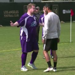 James Corden challenged MLS expansion franchise LAFC to a soccer match.