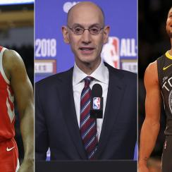 James Harden, Adam Silver and Steph Curry