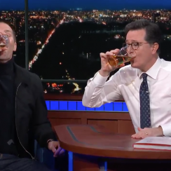 Tom Brady drinks beer on Stephen Colbert show (video)