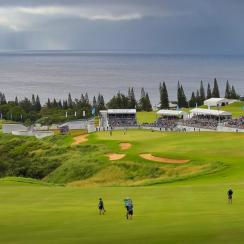 A course scenic view of the 18th hole at the Plantation Course at Kapalua during the final round of the 2018 Sentry Tournament of Champions.