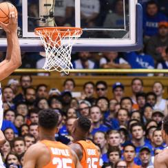 DURHAM, NC - FEBRUARY 24: Duke Blue Devils forward Marvin Bagley III (35) takes the ball to the hoop during the men's college basketball game between the Syracuse Orange and the Duke Blue Devils on February 24, 2018, at the Cameron Indoor Stadium in Durham, NC. (Photo by Michael Berg/Icon Sportswire via Getty Images)