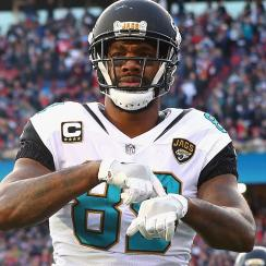 FOXBOROUGH, MA - JANUARY 21:  Marcedes Lewis #89 of the Jacksonville Jaguars celebrates after a touchdown in the first quarter during the AFC Championship Game against the New England Patriots at Gillette Stadium on January 21, 2018 in Foxborough, Massachusetts.  (Photo by Maddie Meyer/Getty Images)