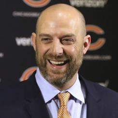 New Chicago Bears head coach Matt Nagy is introduced as the club's 16th head coach in franchise history during an NFL football news conference Tuesday, Jan. 9, 2018, in Lake Forest, Ill. (Gilbert R. Boucher II/Daily Herald via AP)