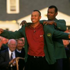 """Tiger Woods completed the """"Tiger Slam"""" at the 2001 Masters."""