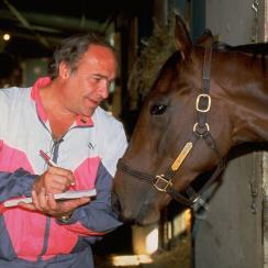William Nackat theSanta Anita Derby, interviewing Best Pal.Credit: Heinz Kluetmeier