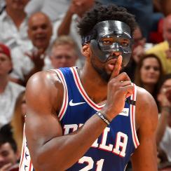 Joel Embiid mask: Heat's Justise Winslow breaks goggles