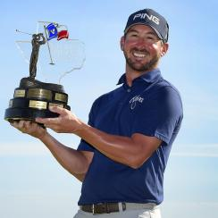 Andrew Landry Valero Texas Open trophy