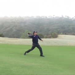 Phil Mickelson throws football righty video