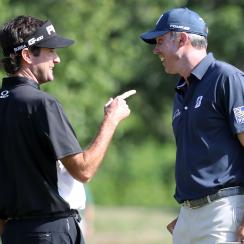 Bubba Watson and Matt Kuchar are celebrating birdies at the Zurich Classic by slapping each other in the face.