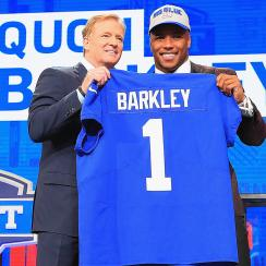 Saquon Barkley and Roger Goodell