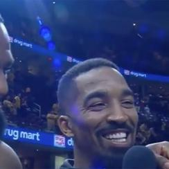 LeBron James crashes postgame interview