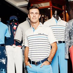 Billy Horschel poses in front of his 2018 PGA Championship looks — a collaboration with Ralph Lauren.