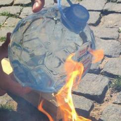 Russia World Cup water bottle causes fire (video)