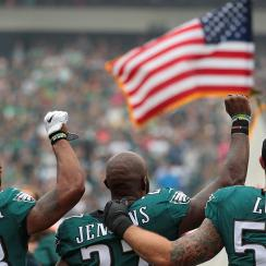 Eagles players during national anthem