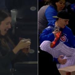 Javier Baez catch video: Fan spills beer