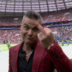 Robbie Williams middle finger during World Cup opening ceremony