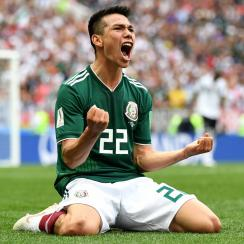 Hirving Lozano scores against Germany for Mexico at the World Cup