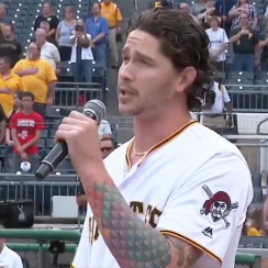 Pirates Steven Brault Sings National Anthem, pirates, Steven Brault, Brewers, pirates brewers