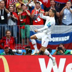 Cristiano Ronaldo scores for Portugal vs. Morocco in the World Cup