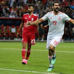 Diego Costa scores for Spain vs. Iran at the World Cup