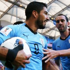 Luis Suarez scores for Uruguay vs. Saudi Arabia