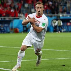 Xherdan Shaqiri scores for Switzerland vs Serbia in the World Cup