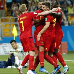 Belgium beats Japan on a last-second goal by Nacer Chadli