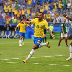 Neymar scores for Brazil vs. Mexico at the World Cup